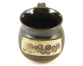 Steampunk mug - pottery mug - wheel thrown mug - brown and green mug - gears and cogs
