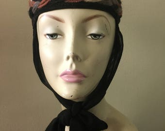 1940s Black Linen Pillbox Hat with Head Scarf