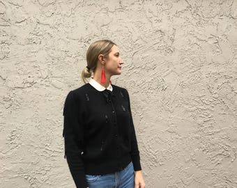 Black mohair Beaded vintage cardigan sweater with Peter Pan collar