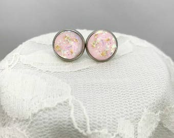 12mm Stud earrings, Sparkly stud earrings, Druzy stud earrings, Pink stud earrings, Light pink stud earrings, Gold flake earrings