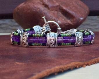 Mens Bracelet, Mens Amethyst bracelet, Mens beaded bracelet, Mens Amethyst Jewelry, Mens bracelets, Mens beaded bracelets, mens gifts