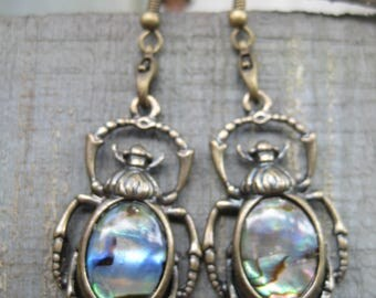 Abalone Scarab Beetle Dangle Earrings