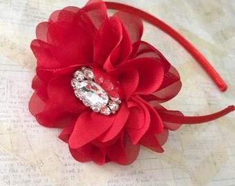Red headband,flower girl headband,red satin headband,dressy headbands,plastic headbands,flower headband,girls headbands