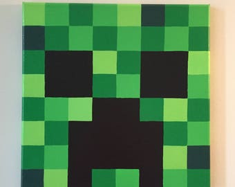 "Minecraft Inspired ""Creeper"" Wall Decor Hand Painted"