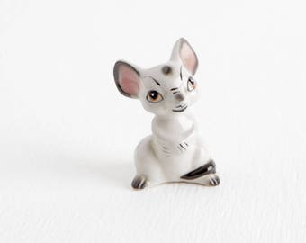 Vintage Ceramic Gray Mouse Figurine, NCV Co Japan