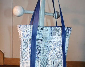 VERY beautiful cotton canvas and faux leather, flowers, fancy blue