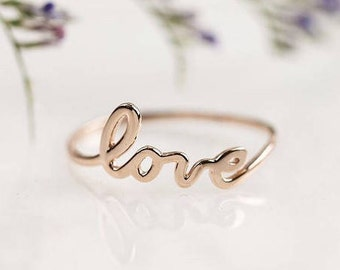 Rose gold love ring, 14k solid rose gold love ring, script love ring, dainty thin cute 14k rose gold script ring, Love jewelry, scr-rlov RTS