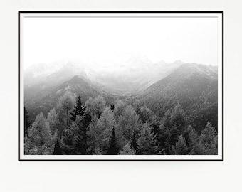 Mountains Forest Wall Decor Nordic Art Print Poster Scandinavian Monochrome Black White Nature Wilderness Minimalist Snow Pine Trees 1040