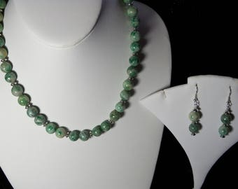 A Beautiful Qinghai Jade Necklace and Earrings. (2017181)