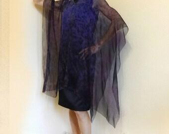 Silk kaftan Sheer chiffon Hand painted Party top Plus size Dress Ruana Lavender Blouse Cape Cover up Mantle kimono Wedding night Honeymoon