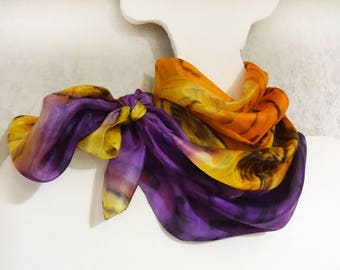 Hand painted silk scarf Handpainted Long shawl Multicolor abstract Colorful Yellow Orange Purple Black scarves shawls Oblong OOAK