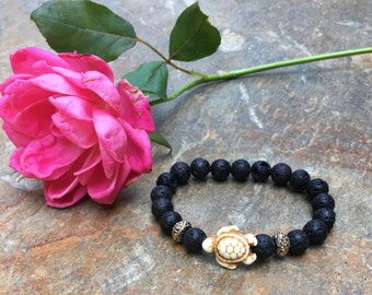 turtle bracelet black lava stone Beaded bracelet mens bracelet women's bracelet Bohemian white turtle jewelry volcanic rock accessories
