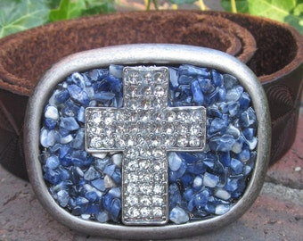 Beaded belt buckle sodalite stone beaded silver belt buckle  women's belt buckle rhinestone cross mens belt buckle Lavish Lucy Designs