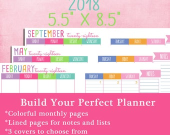Printable Monthly Planner, 2018, for junior and half size planners