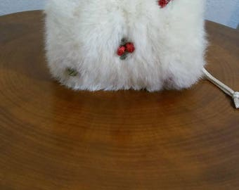 Vintage Rabbits Fur Muff,  Child's Hand Warmer, Off White w Red Rose Flowers