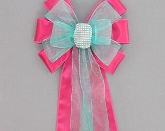 Fuchsia Aqua Bling Wedding Pew Bow - Church Pew Decorations, Wedding Aisle Decorations, Wedding Chair Bows