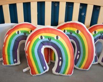Organic Rainbow Pillow - Organic Pillow / Nursery Pillow / Baby Pillow / Rainbow