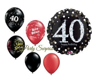 40th birthday balloons 40 party balloons 40 black latex balloons 40th Happy Birthday balloons
