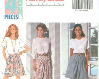 1992 Misses' Split Skirt or Culottes with Front Pleatsr Uncut Factory Fold Size 12, 14, 16 - Butterick Sewing Pattern 6073