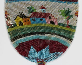ANTIQUE 19th C BEADWORK Coin Purse - Pretty Beaded Reticule in need of a new Lining & Drawstring - circa 1830 - 1850