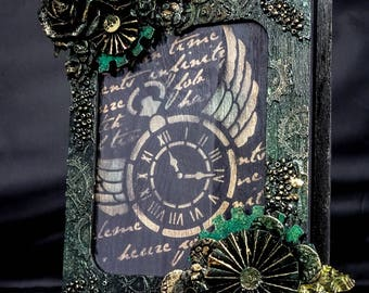 Steampunk mixed media book box frame, green and gold