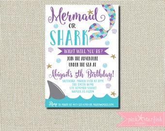 Mermaid and Shark Invitation, Mermaid and Shark Birthday Invitation, Shark and Mermaid Invitation, Sibling Birthday Invitation, Mermaid