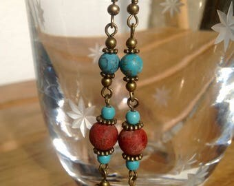 Turquoise and Coral Earrings with Brass Beads