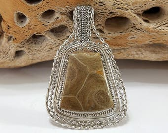 Fossil Coral, Wire Wrapped, Sterling Silver, Pendant, .925 Sterling Silver, Focal, Beading, Jewelry, Supply