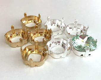 Cushion Sew-On Setting 12x12mm Fits Swarovski Crystal 4470 Square, Gold / Rhodium Plated 8 pieces