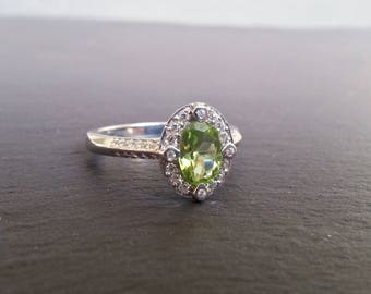 Peridot Diamond Halo Engagement Ring
