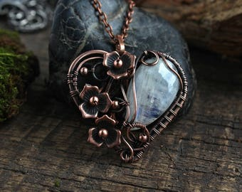 Rainbow moonstone pendant Girlfriend gift  Copper pendant Wire wrapped pendant Moonstone Copper jewelry  gift for bride Gemstone necklace