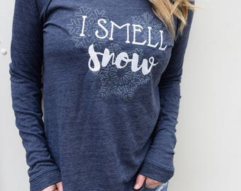 Inspired by Gilmore Girls Shirt, I Smell Snow, Winter Sweater, Stars Hollow, Snowflake Shirt