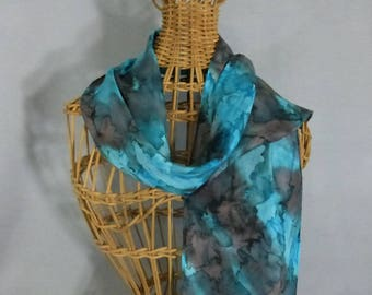 """Silk Scarf (Small) """"Turquoise and Charcoal Gray"""", Hand Painted Silk Scarf, Turquoise Scarf"""