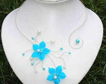 Set of set for 4 wedding Bridal jewelry - necklace, bracelet, earrings and hair jewelry - jewelry set blue pieces