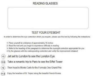 Eye Chart Test for Reading Glasses