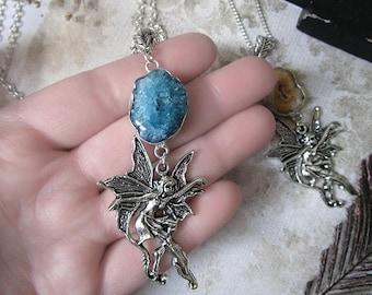 Fairy Necklace, Blue Solar Quartz, Fantasy Pendant, Quartz Crystal Necklace, Enchanted Necklace, Fairy Collection