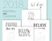 2018 Printable Hand-Lettered Ink Calendar Download