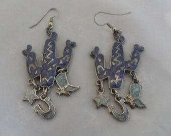 Rare Kitschy Edgar Berebi Earrings Purple Cactus Earrings South Western Saguaro Cactus Jewelry Cowboy Boot Charm Horseshoe Earrings Kitsch