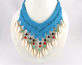 Collier Cowrie Shells Micro Macrame Turquoise Choker Necklace Cowry Thailand Tribal Surfer Bohemian Godess