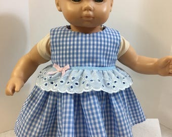 "15 inch Bitty Baby Clothes, Adorable Blue ""GINGHAM"" SunDress w/Pink Gingham Bow, 15 inch AG American Doll Bitty Baby Clothes or Twin Doll"