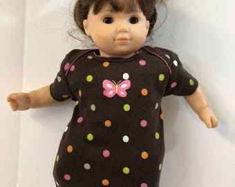 "15 inch Bitty Baby Clothes, Cool ""POLKA Dots & Pink BUTTERFLY"" Nightgown, 15 inch AG American Doll Bitty Baby / Twin, Fits 16"" Cabbage Patch"
