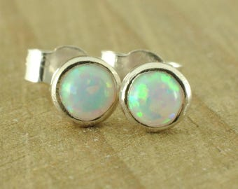 White Black Blue Opal Sterling Silver Stud Post Earrings Dainty October Birthstone Gift Simple Bridesmaids Wedding Everyday Jewellery Women