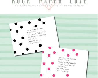 Polka Dot Shower Invitation (various colors and sizes available)