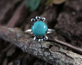 Size 7 Tibetan Turquoise Sterling Silver Ring