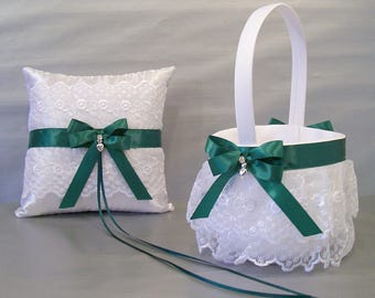 Forest Green Wedding Bridal Flower Girl Basket & Ring Bearer Pillow Set on Ivory or White ~ Allison Line May also be purchased individually