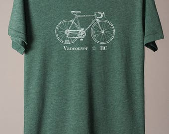 Vancouver t-shirt, Vancouver Canada t-shirt, Vancouver tee, Vancouver bike tee, bicycle tshirt