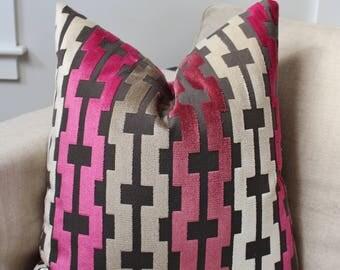 Cut Velvet Pillow Cover // Rasberry Cut Velvet 18x18, 20x20 Square Throw Pillow, Accent Pillow, Toss Pillow