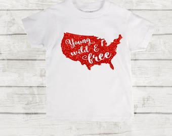 Patriotic 4th of July toddler T-shirt. American toddler tee. Glitter Blue or Red Kids Tee.