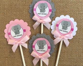 Elephant baby shower/Elephant cupcake toppers/ elephant theme/ elephant pink and gray cupcake  toppers/ elephant baby shower