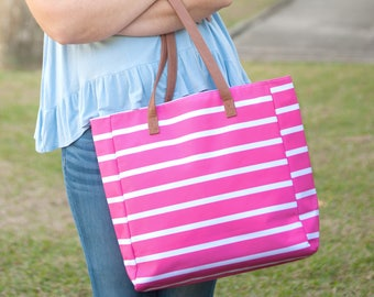 Tote Bag,  Hot Pink, Stripe Tote Collection, Stripe Tote Monogrammed